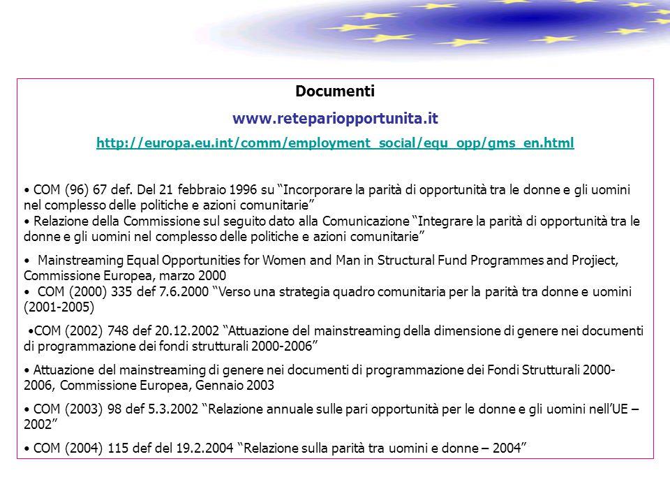 "Documenti www.retepariopportunita.it http://europa.eu.int/comm/employment_social/equ_opp/gms_en.html COM (96) 67 def. Del 21 febbraio 1996 su ""Incorpo"