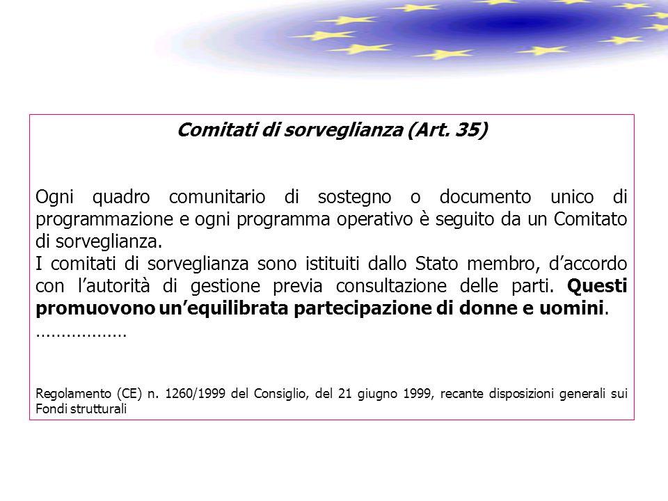 Comitati di sorveglianza (Art. 35) Ogni quadro comunitario di sostegno o documento unico di programmazione e ogni programma operativo è seguito da un