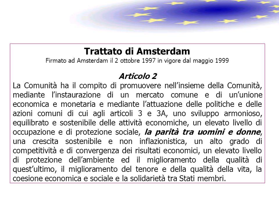 Trattato di Amsterdam Firmato ad Amsterdam il 2 ottobre 1997 in vigore dal maggio 1999 Articolo 2 La Comunità ha il compito di promuovere nell'insieme