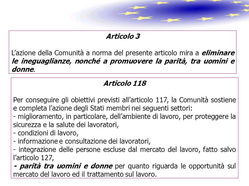 Articolo 3 L'azione della Comunità a norma del presente articolo mira a eliminare le ineguaglianze, nonché a promuovere la parità, tra uomini e donne.