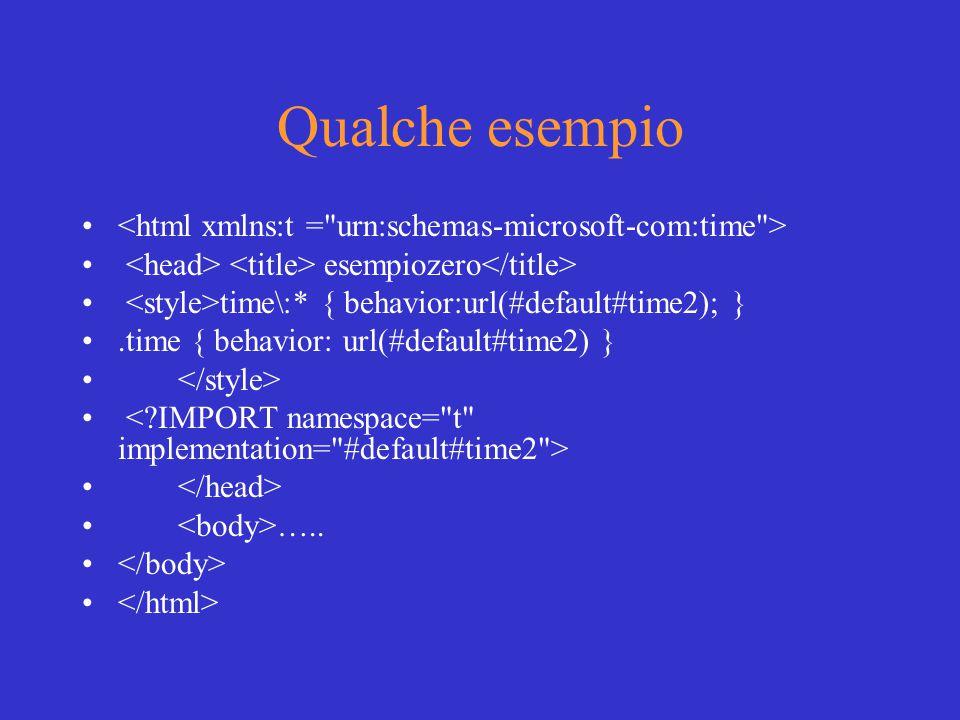 Qualche esempio esempiozero time\:* { behavior:url(#default#time2); }.time { behavior: url(#default#time2) } …..