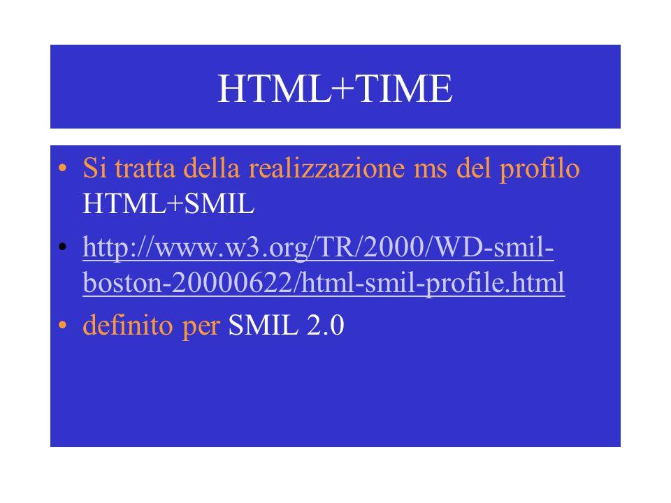 HTML+TIME Si tratta della realizzazione ms del profilo HTML+SMIL http://www.w3.org/TR/2000/WD-smil- boston-20000622/html-smil-profile.htmlhttp://www.w3.org/TR/2000/WD-smil- boston-20000622/html-smil-profile.html definito per SMIL 2.0