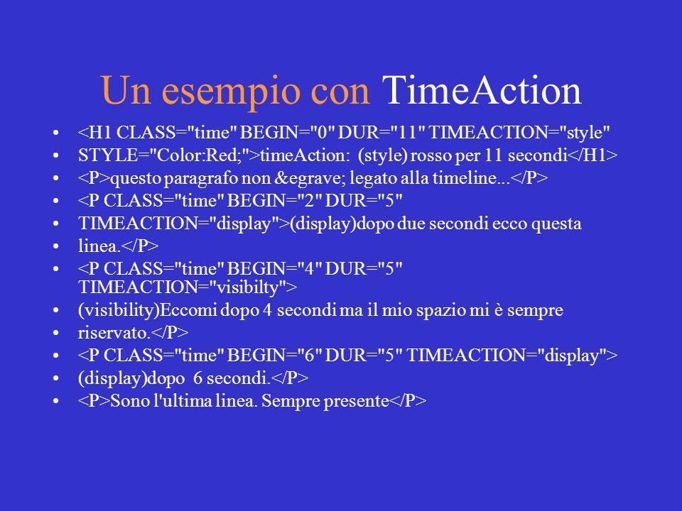 Un esempio con TimeAction <H1 CLASS= time BEGIN= 0 DUR= 11 TIMEACTION= style STYLE= Color:Red; >timeAction: (style) rosso per 11 secondi questo paragrafo non è legato alla timeline...