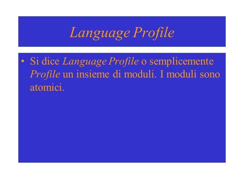 Language Profile Si dice Language Profile o semplicemente Profile un insieme di moduli. I moduli sono atomici.