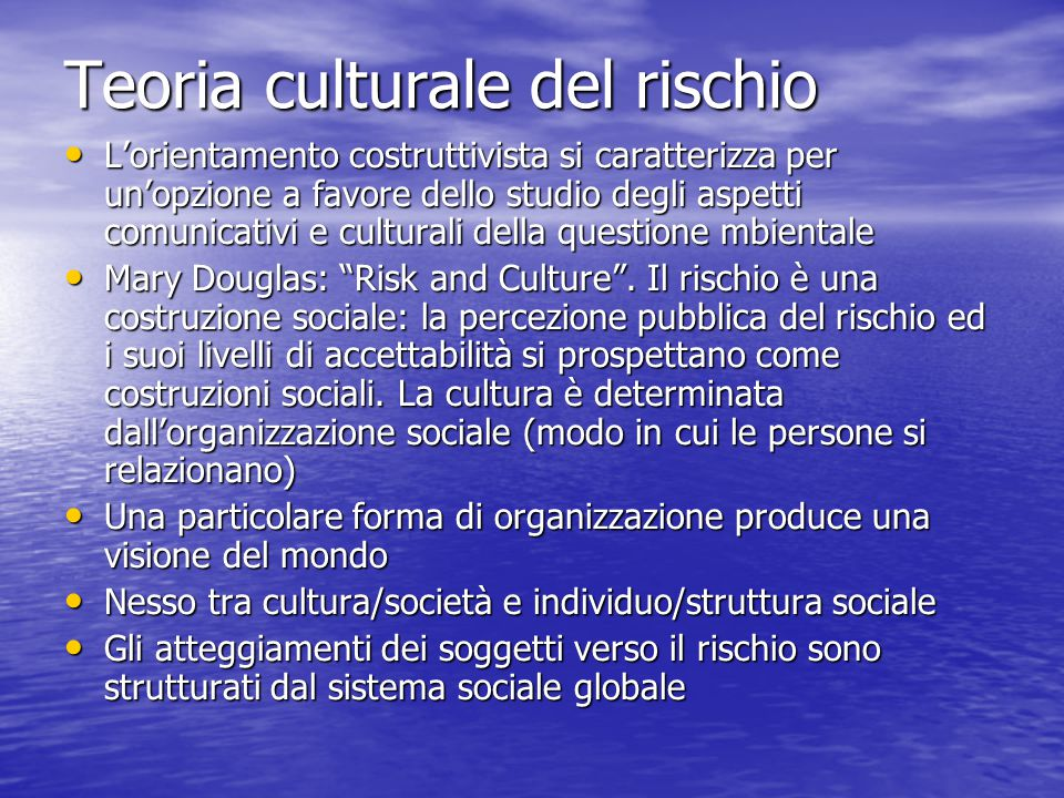 Lo strumento analitico è il modello Griglia/Gruppo: la dimensione griglia esprime la regolazione dell'attività sociale; la dimensione gruppo la coesione sociale Lo strumento analitico è il modello Griglia/Gruppo: la dimensione griglia esprime la regolazione dell'attività sociale; la dimensione gruppo la coesione sociale 1) Individualismo = basso livello griglia/gruppo.