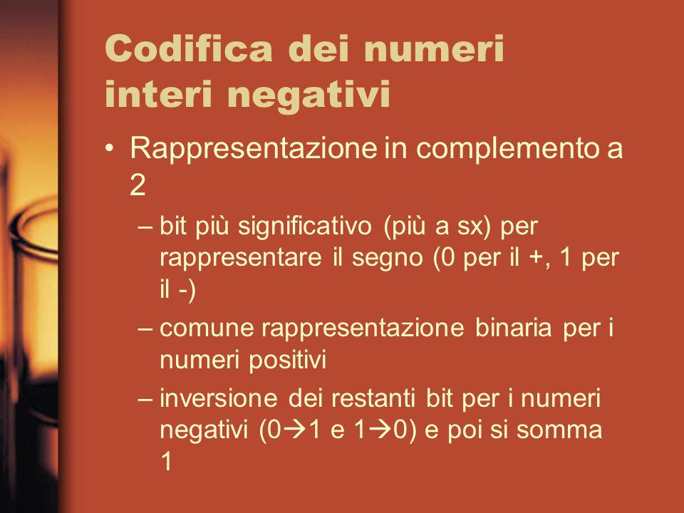 Codifica dei numeri interi negativi Rappresentazione in complemento a 2 –bit più significativo (più a sx) per rappresentare il segno (0 per il +, 1 per il -) –comune rappresentazione binaria per i numeri positivi –inversione dei restanti bit per i numeri negativi (0  1 e 1  0) e poi si somma 1