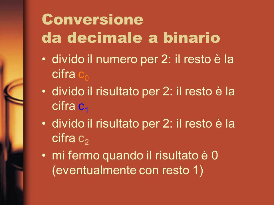 Conversione da decimale a binario divido il numero per 2: il resto è la cifra c 0 divido il risultato per 2: il resto è la cifra c 1 divido il risultato per 2: il resto è la cifra c 2 mi fermo quando il risultato è 0 (eventualmente con resto 1)