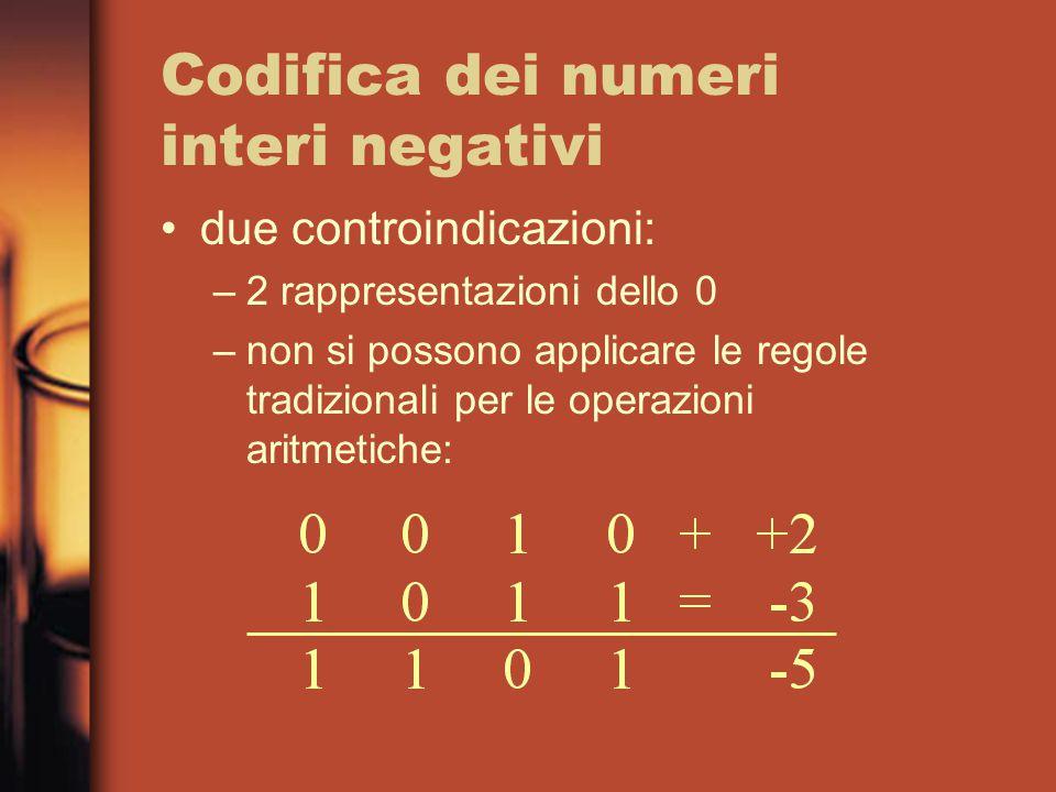 Codifica dei numeri interi negativi due controindicazioni: –2 rappresentazioni dello 0 –non si possono applicare le regole tradizionali per le operazioni aritmetiche: