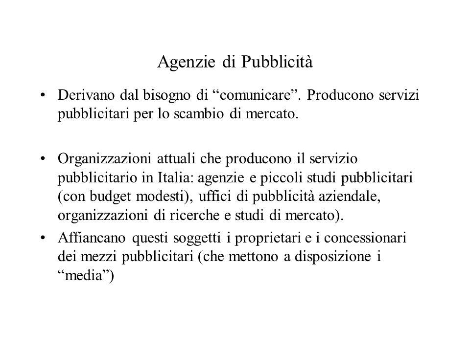 Agenzie di Pubblicità Derivano dal bisogno di comunicare .