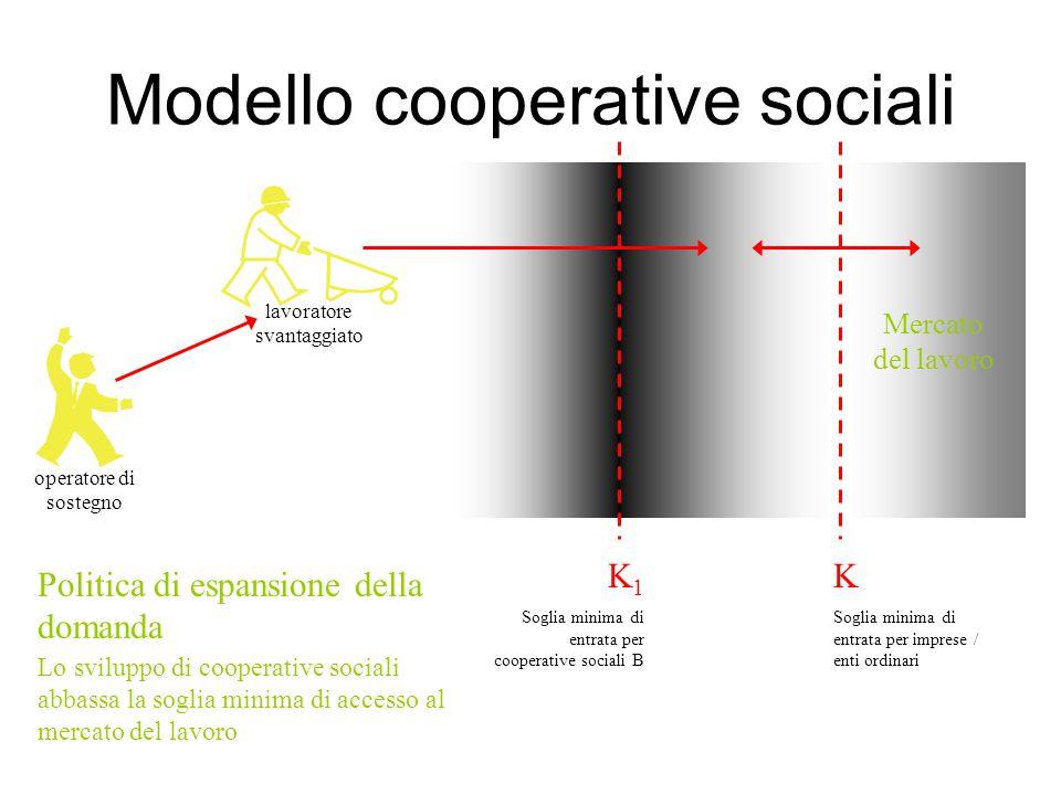 Modello cooperative sociali operatore di sostegno K 1 Soglia minima di entrata per cooperative sociali B K Soglia minima di entrata per imprese / enti ordinari Mercato del lavoro Politica di espansione della domanda lavoratore svantaggiato Lo sviluppo di cooperative sociali abbassa la soglia minima di accesso al mercato del lavoro