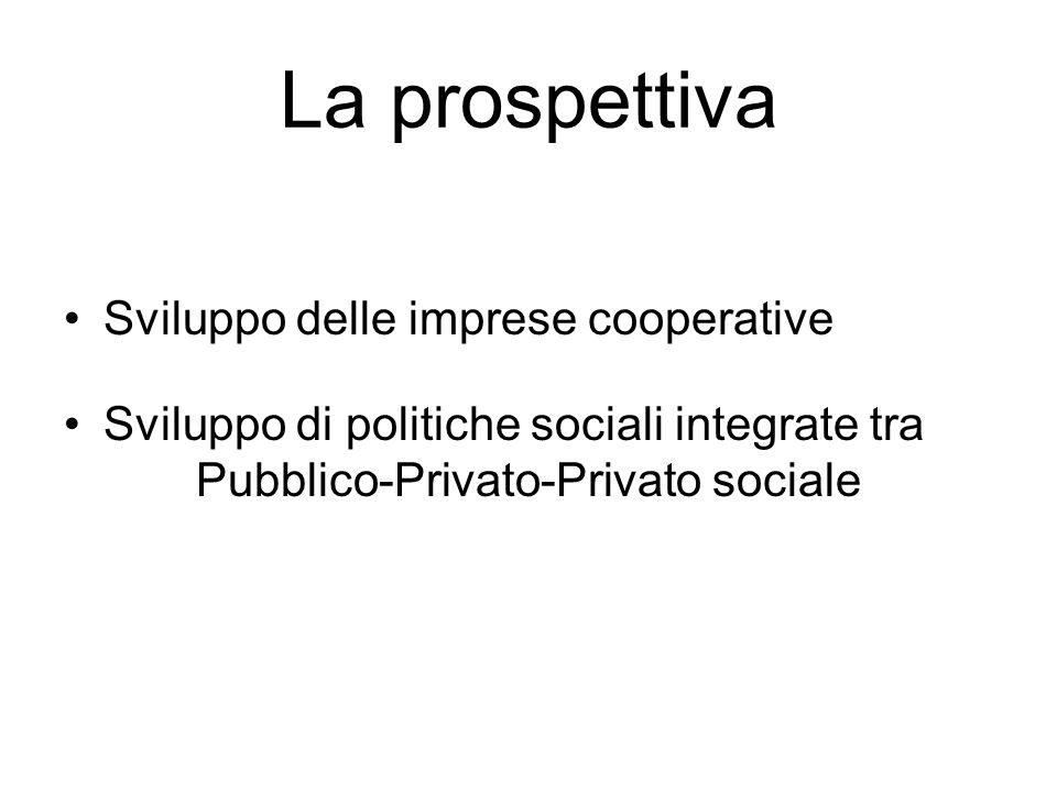 La prospettiva Sviluppo delle imprese cooperative Sviluppo di politiche sociali integrate tra Pubblico-Privato-Privato sociale