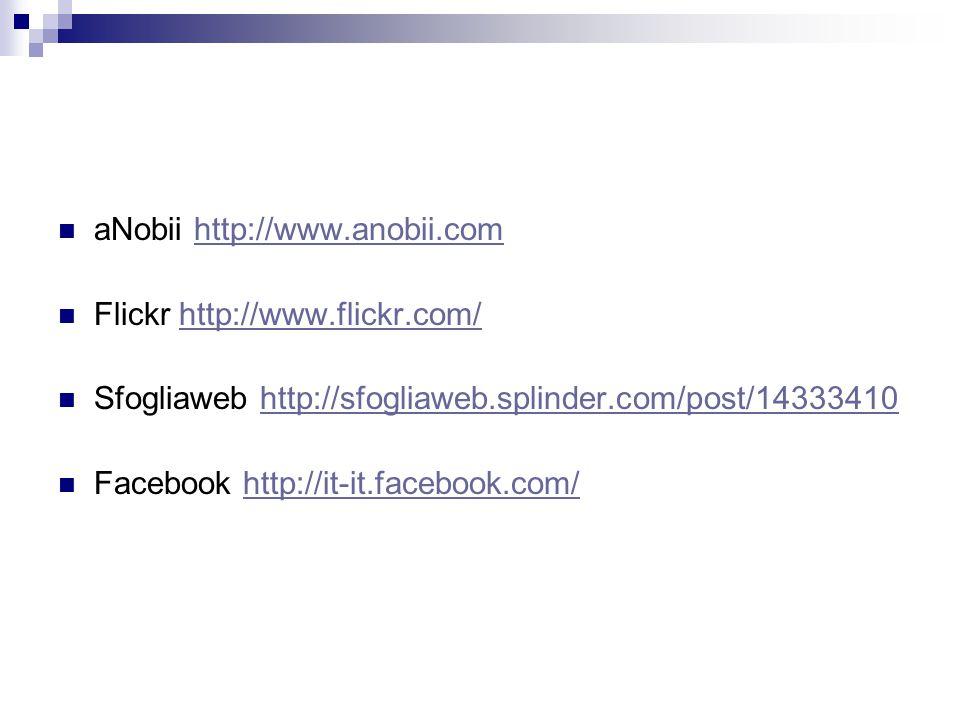 aNobii http://www.anobii.comhttp://www.anobii.com Flickr http://www.flickr.com/http://www.flickr.com/ Sfogliaweb http://sfogliaweb.splinder.com/post/14333410http://sfogliaweb.splinder.com/post/14333410 Facebook http://it-it.facebook.com/http://it-it.facebook.com/