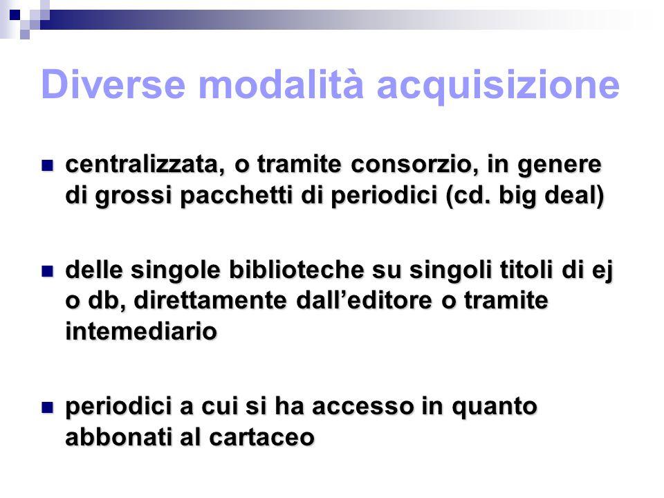 Diverse modalità acquisizione centralizzata, o tramite consorzio, in genere di grossi pacchetti di periodici (cd.