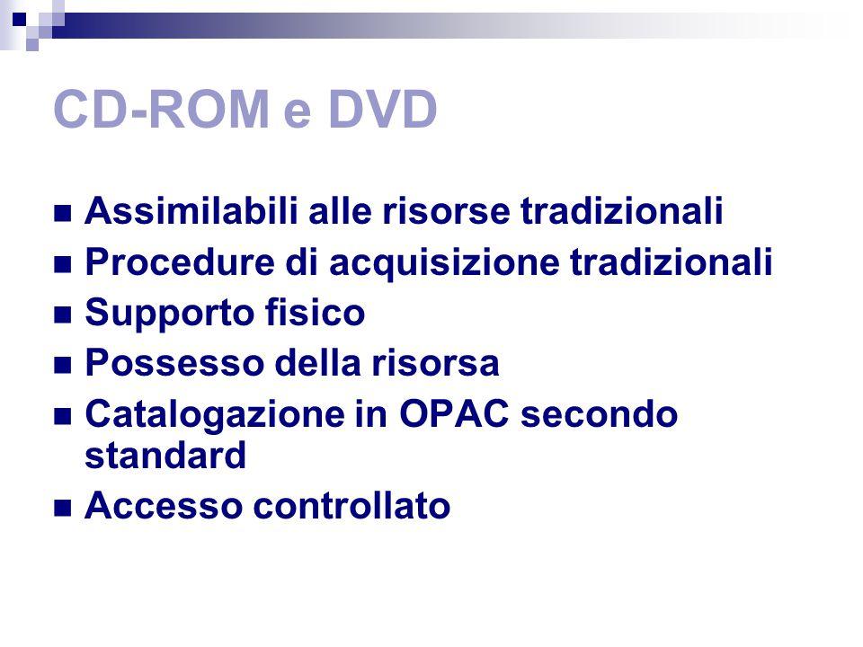 CD-ROM e DVD Assimilabili alle risorse tradizionali Procedure di acquisizione tradizionali Supporto fisico Possesso della risorsa Catalogazione in OPAC secondo standard Accesso controllato