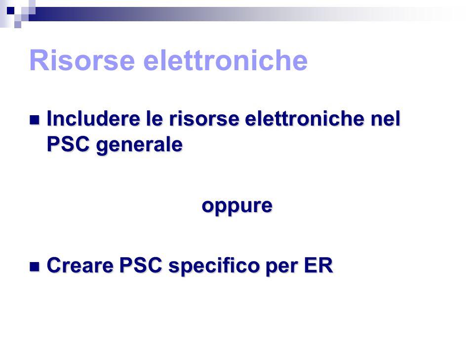 Risorse elettroniche Includere le risorse elettroniche nel PSC generale Includere le risorse elettroniche nel PSC generaleoppure Creare PSC specifico per ER Creare PSC specifico per ER