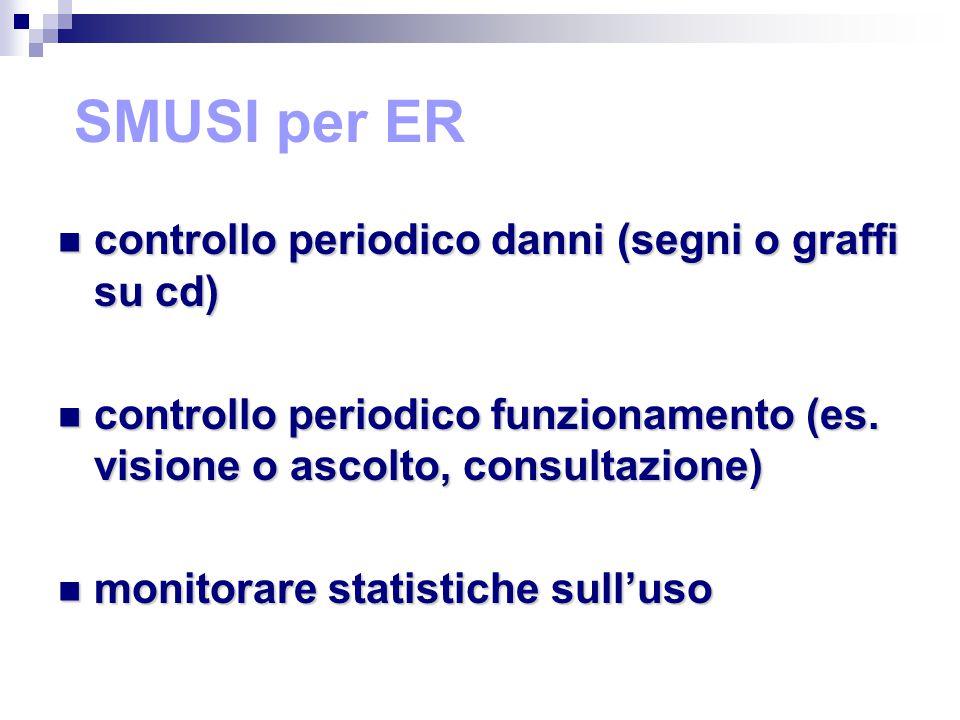 SMUSI per ER controllo periodico danni (segni o graffi su cd) controllo periodico danni (segni o graffi su cd) controllo periodico funzionamento (es.