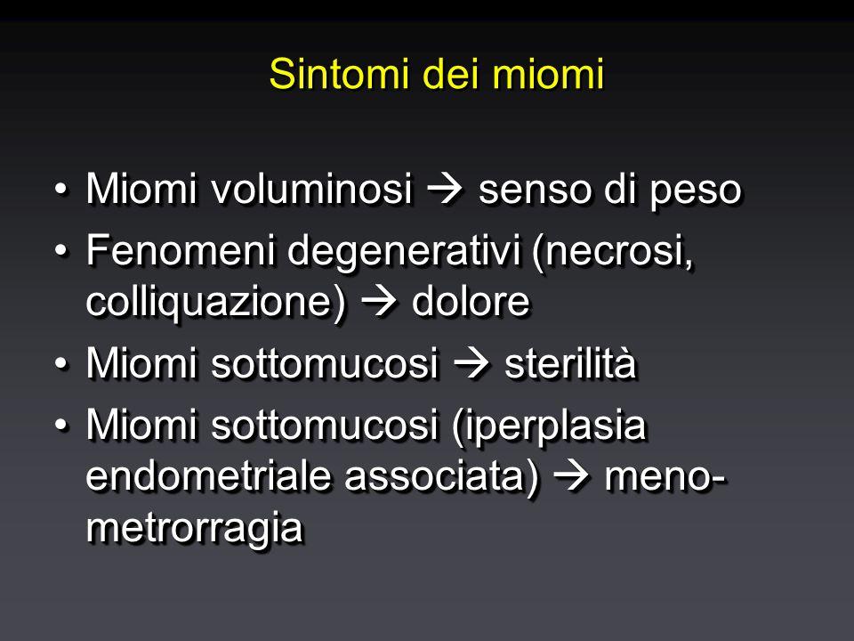 Diagnosi di mioma: ecografia Cavità endometriale Diagnosi specifica (tumefazione solida rotondeggiante intramiometriale), dimensioni, sede, rapporti anatomici