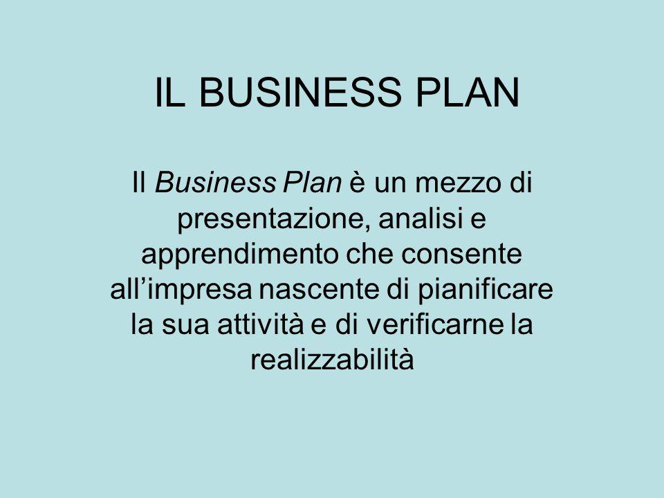 IL BUSINESS PLAN Il Business Plan è un mezzo di presentazione, analisi e apprendimento che consente all'impresa nascente di pianificare la sua attività e di verificarne la realizzabilità