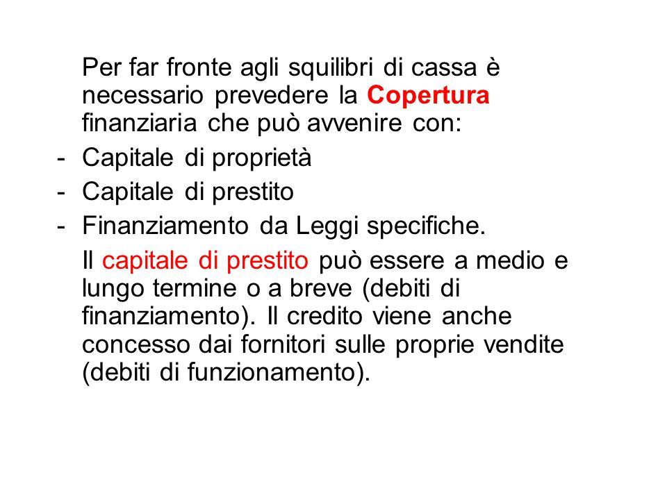 Per far fronte agli squilibri di cassa è necessario prevedere la Copertura finanziaria che può avvenire con: -Capitale di proprietà -Capitale di prestito -Finanziamento da Leggi specifiche.