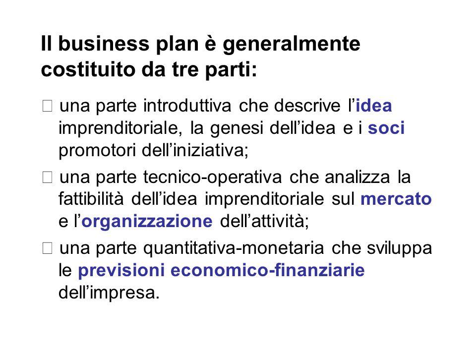 Il business plan è generalmente costituito da tre parti: ・ una parte introduttiva che descrive l'idea imprenditoriale, la genesi dell'idea e i soci promotori dell'iniziativa; ・ una parte tecnico-operativa che analizza la fattibilità dell'idea imprenditoriale sul mercato e l'organizzazione dell'attività; ・ una parte quantitativa-monetaria che sviluppa le previsioni economico-finanziarie dell'impresa.