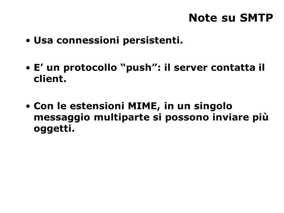 Usa connessioni persistenti. E' un protocollo push : il server contatta il client.