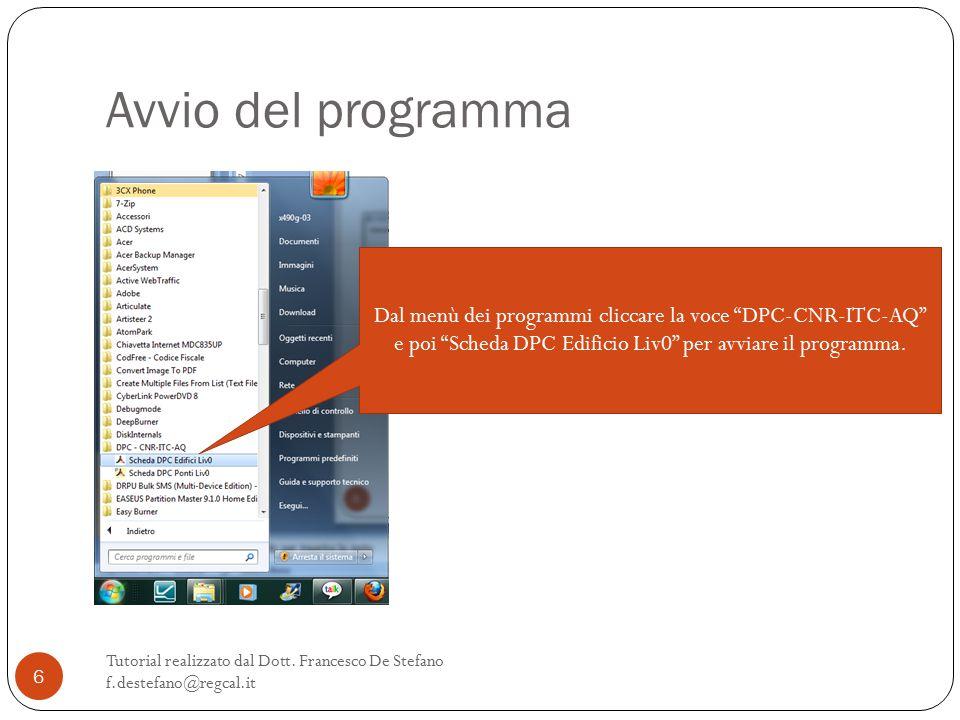 Avvio del programma Tutorial realizzato dal Dott.