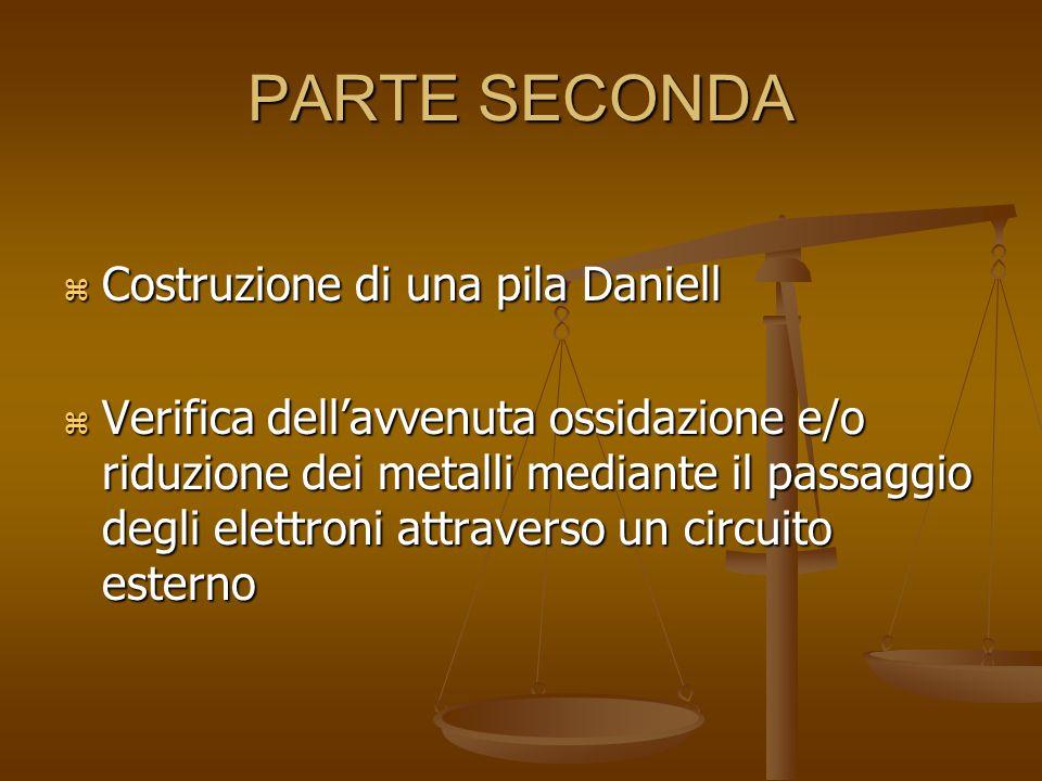 PARTE SECONDA  Costruzione di una pila Daniell  Verifica dell'avvenuta ossidazione e/o riduzione dei metalli mediante il passaggio degli elettroni attraverso un circuito esterno