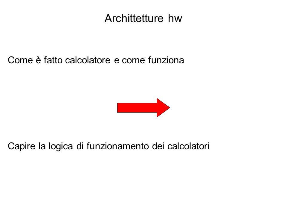 Archittetture hw Come è fatto calcolatore e come funziona Capire la logica di funzionamento dei calcolatori