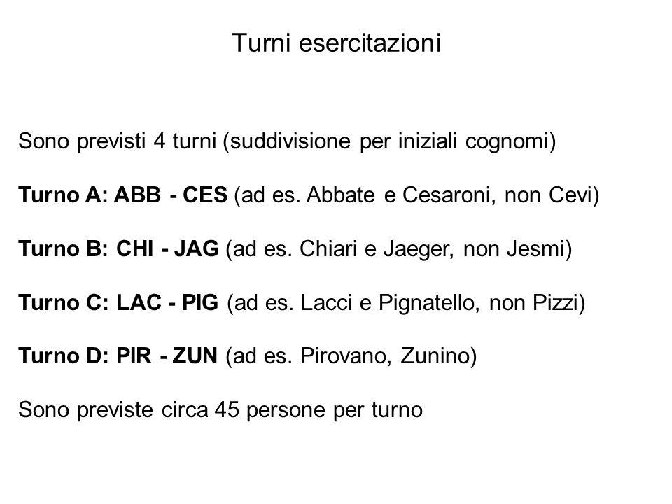 Turni esercitazioni Sono previsti 4 turni (suddivisione per iniziali cognomi) Turno A: ABB - CES (ad es. Abbate e Cesaroni, non Cevi) Turno B: CHI - J