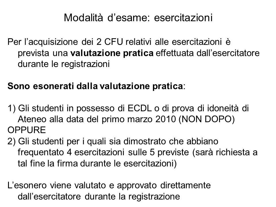 Modalità d'esame: esercitazioni Per l'acquisizione dei 2 CFU relativi alle esercitazioni è prevista una valutazione pratica effettuata dall'esercitato