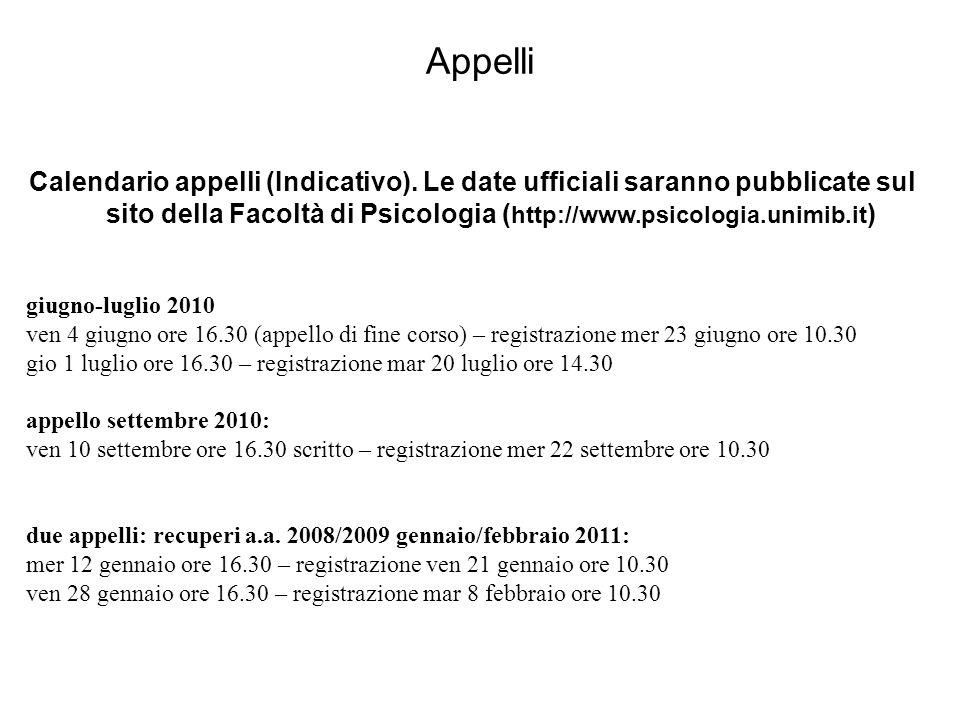 Appelli Calendario appelli (Indicativo). Le date ufficiali saranno pubblicate sul sito della Facoltà di Psicologia ( http://www.psicologia.unimib.it )