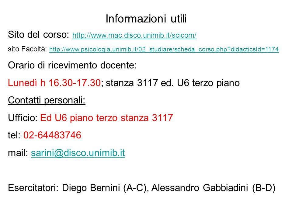 Informazioni utili Sito del corso: http://www.mac.disco.unimib.it/scicom/ http://www.mac.disco.unimib.it/scicom/ sito Facoltà: http://www.psicologia.u
