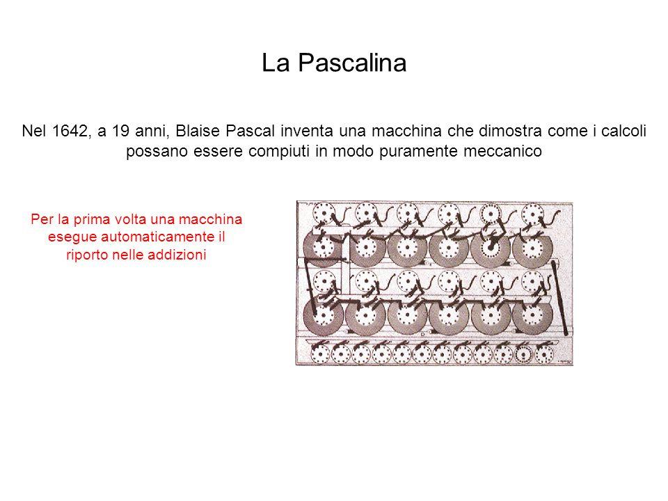 La Pascalina Nel 1642, a 19 anni, Blaise Pascal inventa una macchina che dimostra come i calcoli possano essere compiuti in modo puramente meccanico F