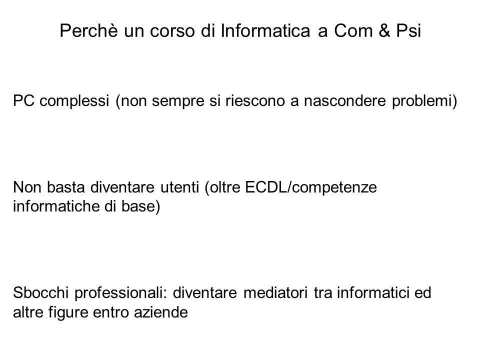 Perchè un corso di Informatica a Com & Psi PC complessi (non sempre si riescono a nascondere problemi) Non basta diventare utenti (oltre ECDL/competen