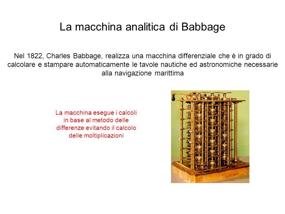 La macchina analitica di Babbage Nel 1822, Charles Babbage, realizza una macchina differenziale che è in grado di calcolare e stampare automaticamente