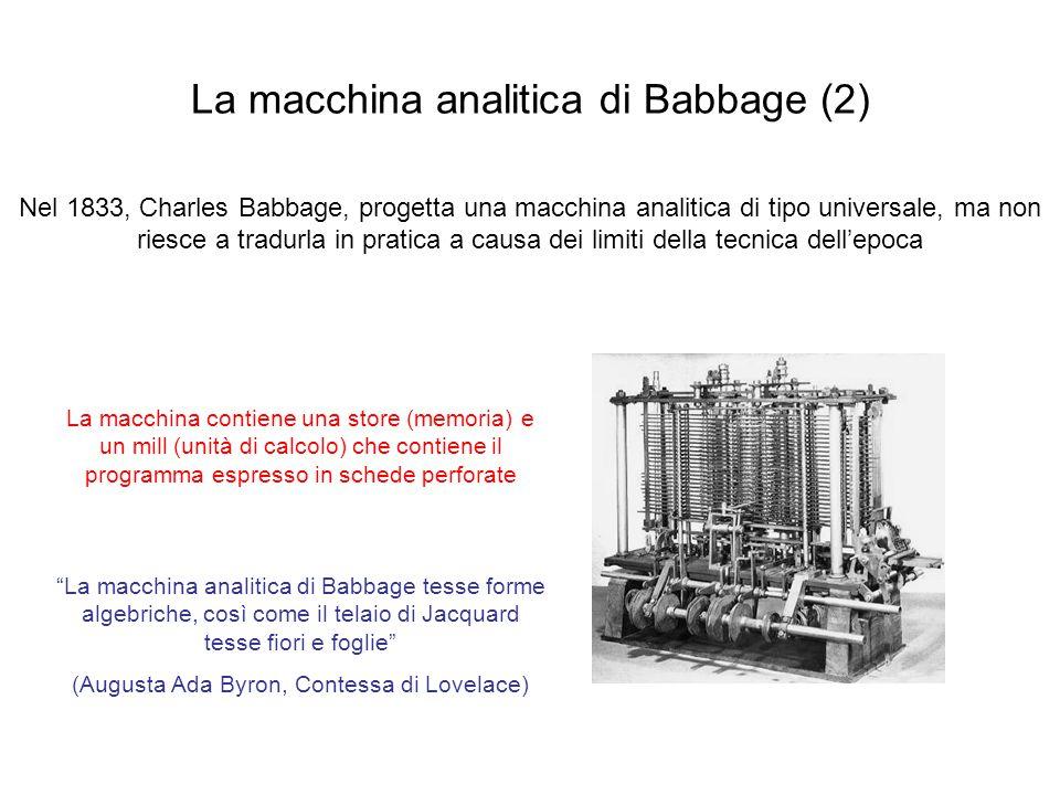 La macchina analitica di Babbage (2) Nel 1833, Charles Babbage, progetta una macchina analitica di tipo universale, ma non riesce a tradurla in pratic
