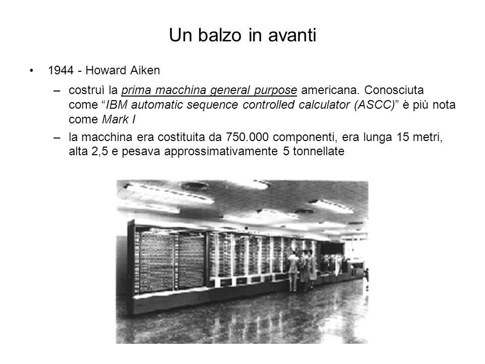 "1944 - Howard Aiken –costruì la prima macchina general purpose americana. Conosciuta come ""IBM automatic sequence controlled calculator (ASCC)"" è più"