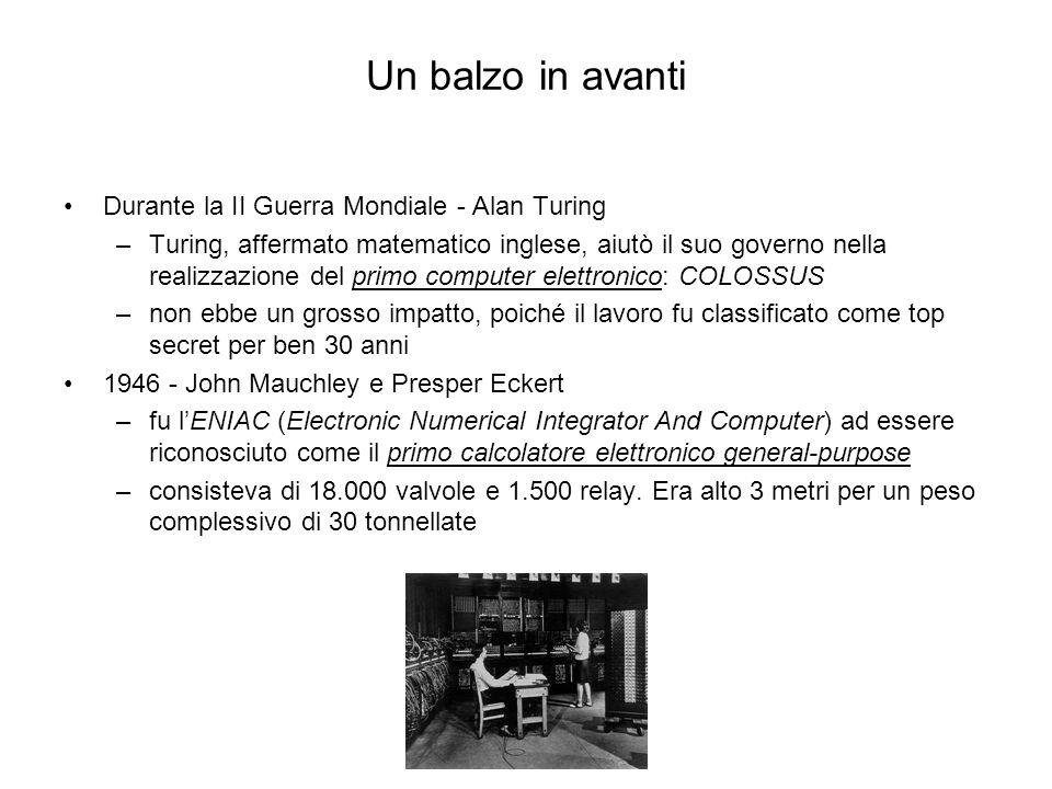 Durante la II Guerra Mondiale - Alan Turing –Turing, affermato matematico inglese, aiutò il suo governo nella realizzazione del primo computer elettro