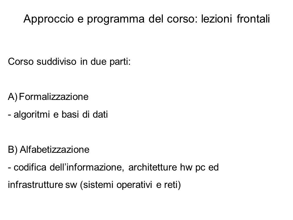 Approccio e programma del corso: lezioni frontali Corso suddiviso in due parti: A)Formalizzazione - algoritmi e basi di dati B) Alfabetizzazione - cod