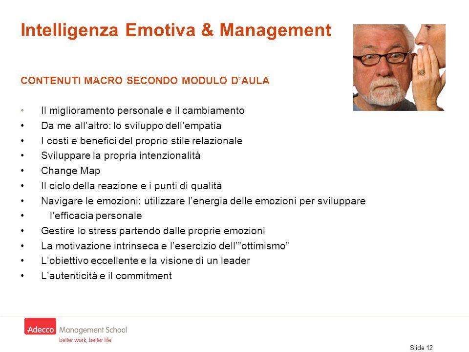 Slide 12 CONTENUTI MACRO SECONDO MODULO D'AULA Il miglioramento personale e il cambiamento Da me all'altro: lo sviluppo dell'empatia I costi e benefic