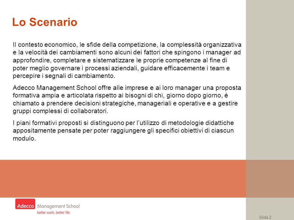 Slide 2 Lo Scenario Il contesto economico, le sfide della competizione, la complessità organizzativa e la velocità dei cambiamenti sono alcuni dei fat