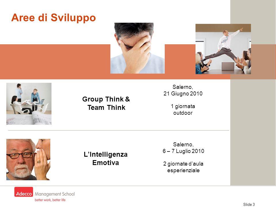 Slide 3 Aree di Sviluppo L'Intelligenza Emotiva Group Think & Team Think Salerno, 6 – 7 Luglio 2010 2 giornate d'aula esperienziale Salerno, 21 Giugno