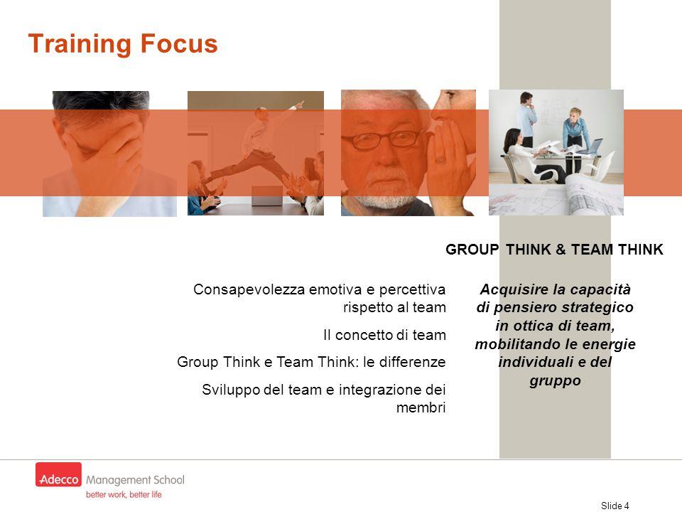 Slide 4 Training Focus Consapevolezza emotiva e percettiva rispetto al team Il concetto di team Group Think e Team Think: le differenze Sviluppo del t