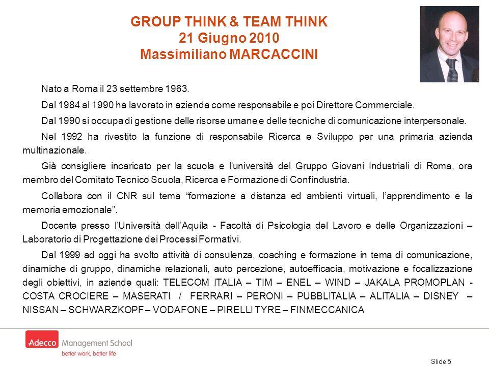 Slide 5 Nato a Roma il 23 settembre 1963. Dal 1984 al 1990 ha lavorato in azienda come responsabile e poi Direttore Commerciale. Dal 1990 si occupa di