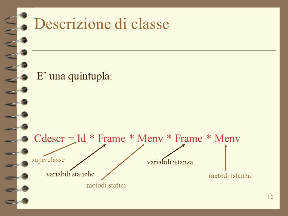 12 Descrizione di classe Cdescr = Id * Frame * Menv * Frame * Menv superclasse variabili statiche metodi statici variabili istanza metodi istanza E' una quintupla: