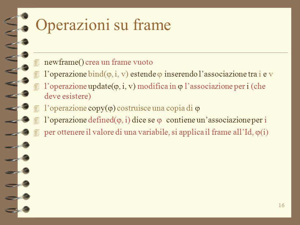 16 Operazioni su frame 4 newframe() crea un frame vuoto  l'operazione bind( , i, v) estende  inserendo l'associazione tra i e v  l'operazione update( , i, v) modifica in  l'associazione per i (che deve esistere)  l'operazione copy(  ) costruisce una copia di   l'operazione defined( , i) dice se  contiene un'associazione per i  per ottenere il valore di una variabile, si applica il frame all'Id,  i 