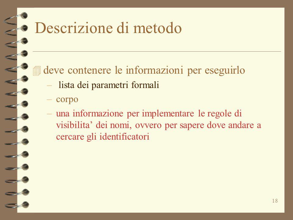 18 Descrizione di metodo 4 deve contenere le informazioni per eseguirlo – lista dei parametri formali –corpo –una informazione per implementare le regole di visibilita' dei nomi, ovvero per sapere dove andare a cercare gli identificatori