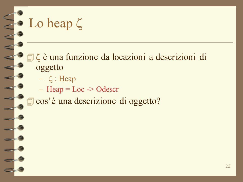 22 Lo heap    è una funzione da locazioni a descrizioni di oggetto –  : Heap –Heap = Loc -> Odescr 4 cos'è una descrizione di oggetto