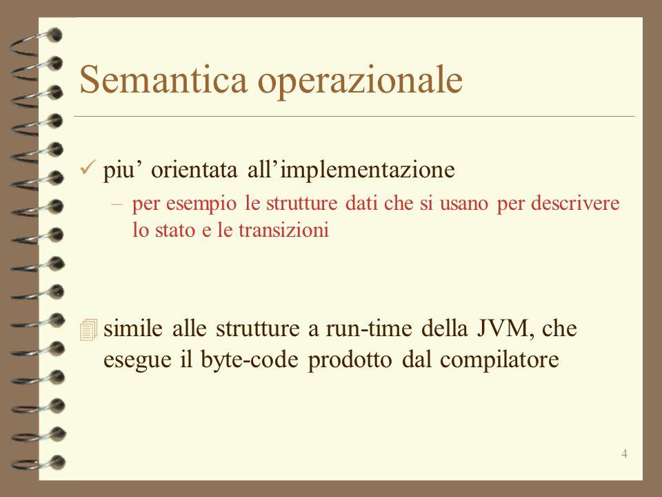 4 Semantica operazionale piu' orientata all'implementazione –per esempio le strutture dati che si usano per descrivere lo stato e le transizioni 4 simile alle strutture a run-time della JVM, che esegue il byte-code prodotto dal compilatore
