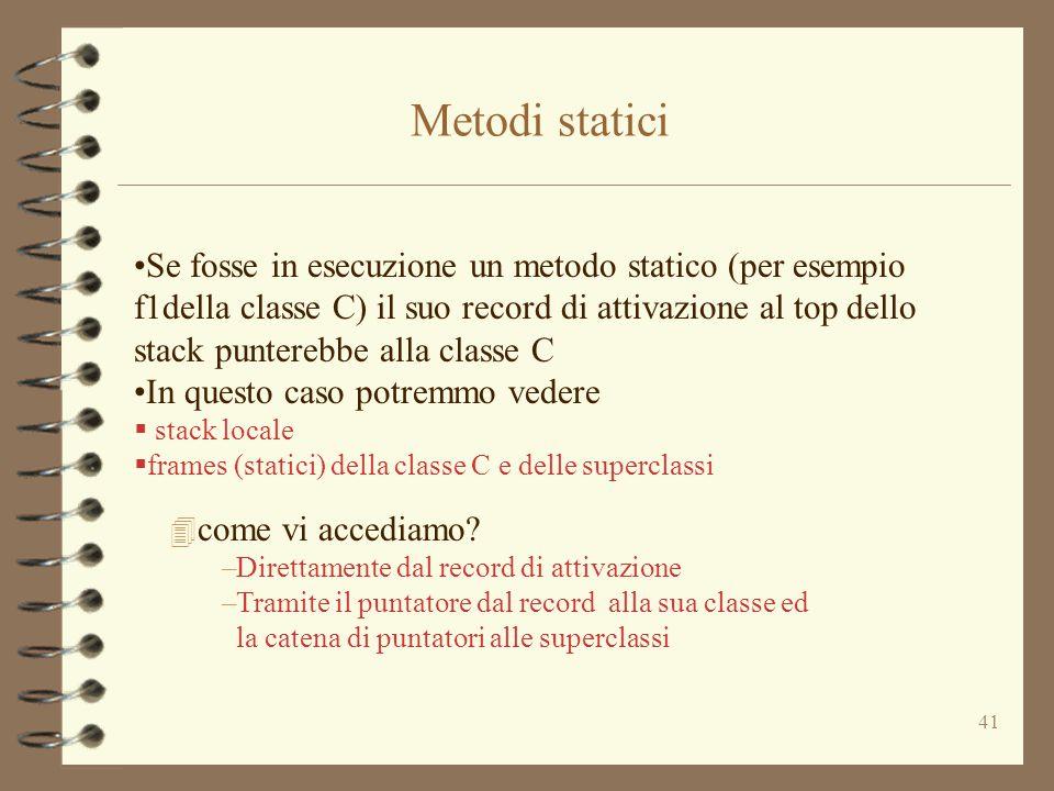 41 Se fosse in esecuzione un metodo statico (per esempio f1della classe C) il suo record di attivazione al top dello stack punterebbe alla classe C In questo caso potremmo vedere  stack locale  frames (statici) della classe C e delle superclassi Metodi statici 4 come vi accediamo.